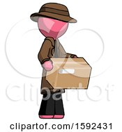 Pink Detective Man Holding Package To Send Or Recieve In Mail
