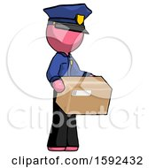 Pink Police Man Holding Package To Send Or Recieve In Mail