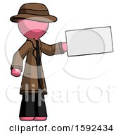 Pink Detective Man Holding Large Envelope