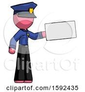 Pink Police Man Holding Large Envelope