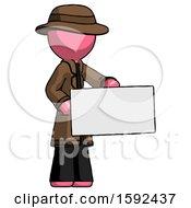 Pink Detective Man Presenting Large Envelope