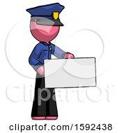 Pink Police Man Presenting Large Envelope