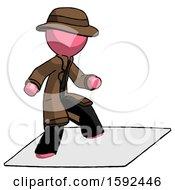 Pink Detective Man On Postage Envelope Surfing