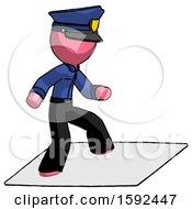 Pink Police Man On Postage Envelope Surfing