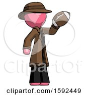 Pink Detective Man Holding Football Up