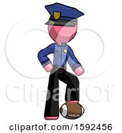 Pink Police Man Standing With Foot On Football