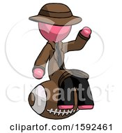 Pink Detective Man Sitting On Giant Football