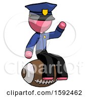 Pink Police Man Sitting On Giant Football