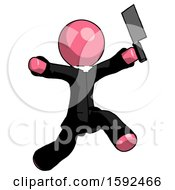 Pink Clergy Man Psycho Running With Meat Cleaver