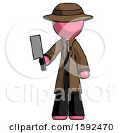 Pink Detective Man Holding Meat Cleaver