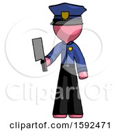 Pink Police Man Holding Meat Cleaver