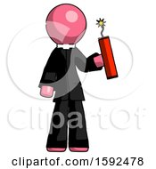 Pink Clergy Man Holding Dynamite With Fuse Lit