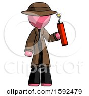 Pink Detective Man Holding Dynamite With Fuse Lit