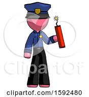 Pink Police Man Holding Dynamite With Fuse Lit