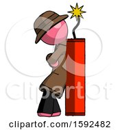 Pink Detective Man Leaning Against Dynimate Large Stick Ready To Blow
