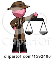 Pink Detective Man Holding Scales Of Justice