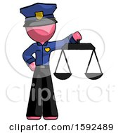 Pink Police Man Holding Scales Of Justice