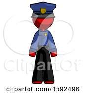 Red Police Man Standing Facing Forward