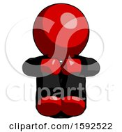 Red Clergy Man Sitting With Head Down Facing Forward
