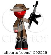Red Detective Man Holding Automatic Gun
