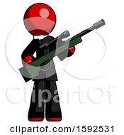 Red Clergy Man Holding Sniper Rifle Gun