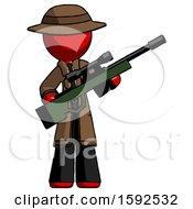 Red Detective Man Holding Sniper Rifle Gun