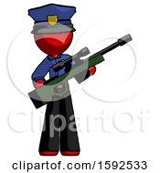Red Police Man Holding Sniper Rifle Gun