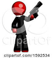 Red Clergy Man Holding Handgun
