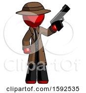 Red Detective Man Holding Handgun