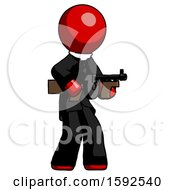 Red Clergy Man Tommy Gun Gangster Shooting Pose