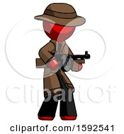Red Detective Man Tommy Gun Gangster Shooting Pose