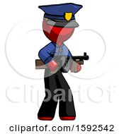 Red Police Man Tommy Gun Gangster Shooting Pose