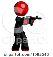 Red Clergy Man Shooting Automatic Assault Weapon