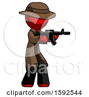 Red Detective Man Shooting Automatic Assault Weapon