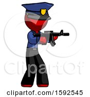 Red Police Man Shooting Automatic Assault Weapon
