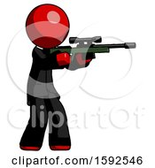 Red Clergy Man Shooting Sniper Rifle