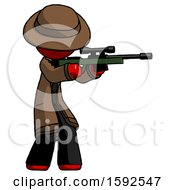 Red Detective Man Shooting Sniper Rifle