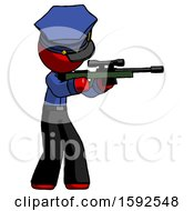 Red Police Man Shooting Sniper Rifle