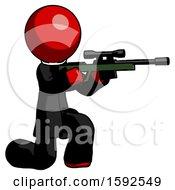 Red Clergy Man Kneeling Shooting Sniper Rifle