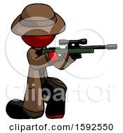 Red Detective Man Kneeling Shooting Sniper Rifle