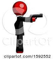 Red Clergy Man Firing A Handgun