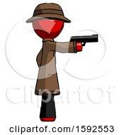 Red Detective Man Firing A Handgun