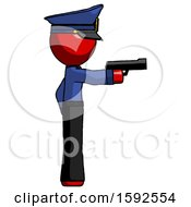Red Police Man Firing A Handgun