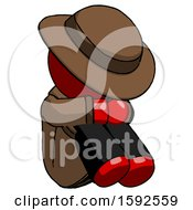 Red Detective Man Sitting With Head Down Facing Angle Right