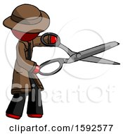 Red Detective Man Holding Giant Scissors Cutting Out Something