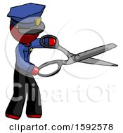 Red Police Man Holding Giant Scissors Cutting Out Something