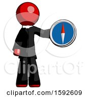 Red Clergy Man Holding A Large Compass