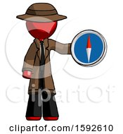 Red Detective Man Holding A Large Compass