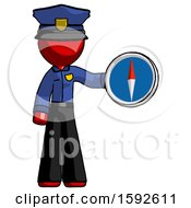 Red Police Man Holding A Large Compass