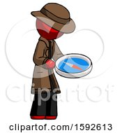 Red Detective Man Looking At Large Compass Facing Right